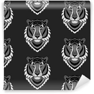 Afwasbaar behang, op maat gemaakt Borduurwerk tijger hoofd naadloze patroon