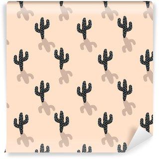 Afwasbaar behang, op maat gemaakt Cactus plant vector naadloze patroon. abstracte cartoon blos kleur woestijnstof print. scandinavische stijlcactussen voor behang en kleding.