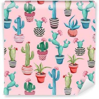 Afwasbaar behang, op maat gemaakt Cactussen bloem naadloos patroon.