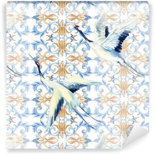 Afwasbaar behang, op maat gemaakt Chinese aquarel naadloos patroon