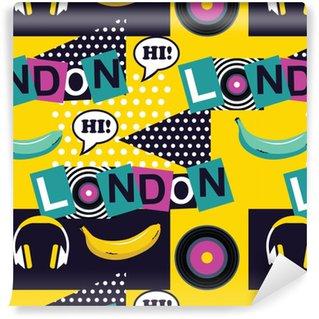 Geel pop-art naadloos Londen patroon