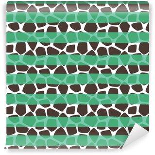 Giraffe huid vector naadloze patroon. bruine en witte textuurvlekken. dierlijke achtergrond met groene strepen.
