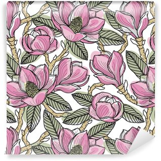 Afwasbaar behang, op maat gemaakt Kleurrijk naadloos patroon met bloemen, knoppen, bladeren en takken van magnolia. vectorillustratie, geïsoleerd op achtergrond voor ontwerp, stof of behang.