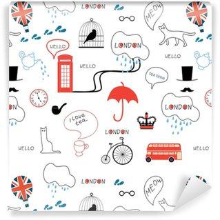 Afwasbaar behang, op maat gemaakt Lijntekeningen hand getrokken Engels patroon op witte achtergrond
