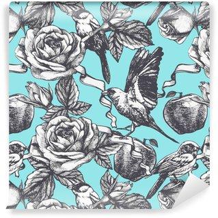 Afwasbaar behang, op maat gemaakt Naadloos patroon met de hand getekende rozen, appels en vogels. Vector