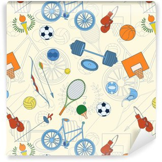 Afwasbaar behang, op maat gemaakt Naadloos sportpatroon