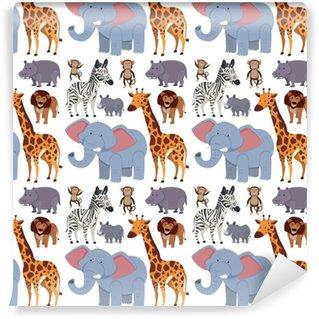 Afwasbaar behang, op maat gemaakt Naadloze achtergrond met wilde dieren