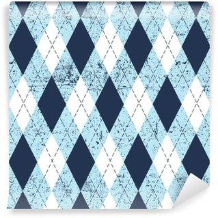 Afwasbaar behang, op maat gemaakt Naadloze argyle leeftijd patroon. traditionele diamant ruitjes print in matig blauw, zachtblauw en wit met zwarte steek en grunge textuur. grunge vintage naadloze achtergrond.