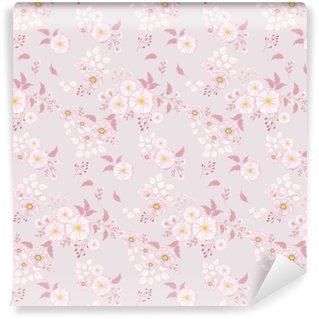 Afwasbaar behang, op maat gemaakt Naadloze bloemmotief. achtergrond in kleine roze bloemen op een lichte achtergrond voor textiel, stof, katoenen stof, covers, behang, print, cadeauverpakking, briefkaart.