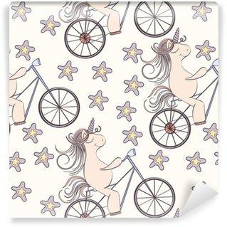 Afwasbaar behang, op maat gemaakt Naadloze eenhoorn patroon