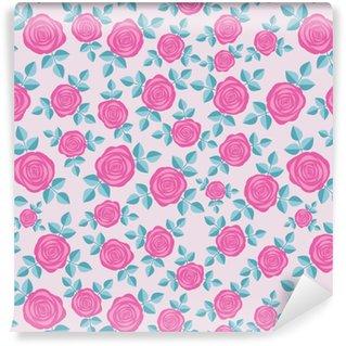 Afwasbaar behang, op maat gemaakt Naadloze elegante bloemmotief met roze rozen op roze achtergrond. ditsy print. perfect voor scrapbooking, textiel, inpakpapier enz. vectorillustratie.