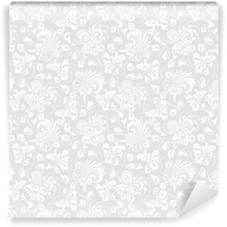 Afwasbaar behang, op maat gemaakt Naadloze grijze achtergrond met wit patroon in barokke stijl. vector retro illustratie. ideaal voor afdrukken op stof of papier.