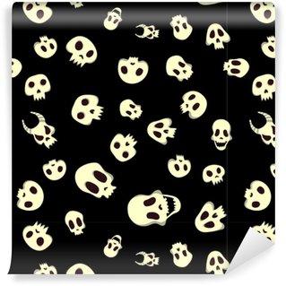 Naadloze halloween patroon met schedels. illustratie, geïsoleerd op zwarte achtergrond. ontwerp met stoffen print.