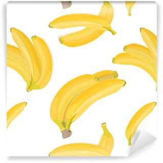 Naadloze hand getekend tropische patroon met bananen fruit op witte achtergrond