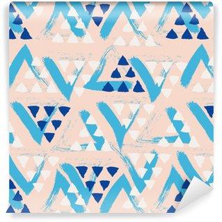 Afwasbaar behang, op maat gemaakt Naadloze hand getekende patroon