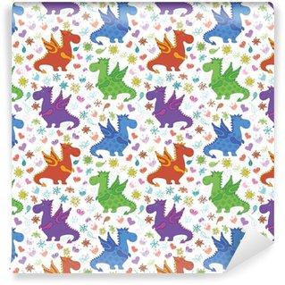 Afwasbaar behang, op maat gemaakt Naadloze patroon, cartoon kleurrijke draken