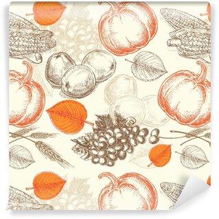 Afwasbaar behang, op maat gemaakt Naadloze patroon groenten thanksgiving day