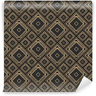 Afwasbaar behang, op maat gemaakt Naadloze patroon in art deco-stijl. zwart en gouden tilework. 3D-effect keramische tegels. luxe achtergrond.