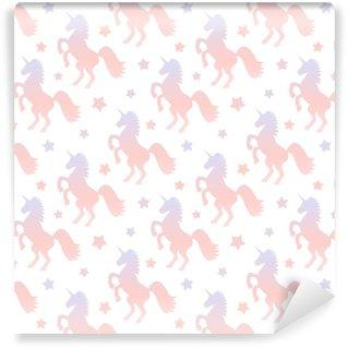 Afwasbaar behang, op maat gemaakt Schattig kleurovergang eenhoorn silhouet naadloze patroon achtergrond illustratie
