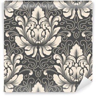 Afwasbaar behang, op maat gemaakt Vector damast naadloze patroonelement. klassieke luxe ouderwetse damast ornament, Koninklijke Victoriaanse naadloze textuur voor achtergronden, textiel, onmiddellijke verpakking. prachtige bloemen barokke sjabloon.