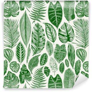 Afwasbaar behang, op maat gemaakt Vector naadloos uitstekend bloemenpatroon. exotische bladeren. botanische klassieke illustratie. groen