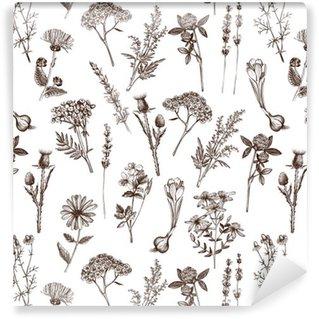 Afwasbaar behang, op maat gemaakt Vector naadloze patroon met inkt hand getrokken geneeskrachtige kruiden schets