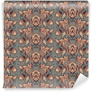 Afwasbaar behang, op maat gemaakt Vintage bloemen vector wallpaper