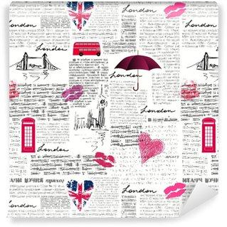 Afwasbaar behang, op maat gemaakt Vintage Londen patroon