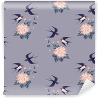Vrouwelijk naadloos patroon in vintage stijl. zwaluwen en chrysanten op een grijze achtergrond. achtergrond voor textiel, productie, boekomslagen, achtergronden, print of cadeauverpakking. vectorillustratie