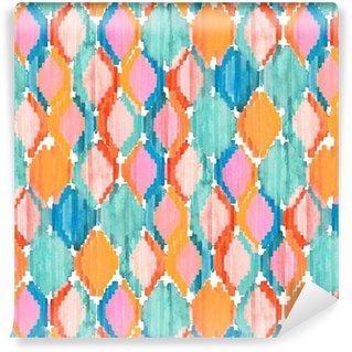 Afwasbaar behang, op maat gemaakt Watercolor ikat naadloos patroon. Levendige etnische ruitpatroon.