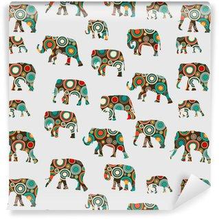Vinyl behang, op maat gemaakt Abstract kleurrijk patroon met olifanten