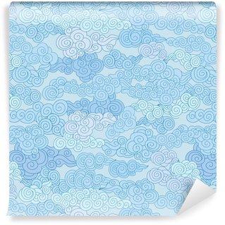 Vinyl behang, op maat gemaakt Abstract swirl cloud vormen geometgric betegeld patroon in chinese stijl hemel sier achtergrond