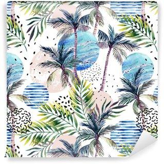 Vinyl behang, op maat gemaakt Abstract zomer geometrische naadloze patroon