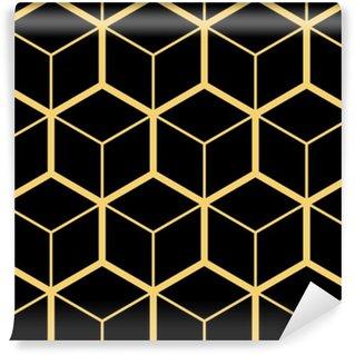 Vinyl behang, op maat gemaakt Abstracte geometrische achtergrond. zeshoekig gaas met ingesloten cellen. vector naadloze illustratie. ritmisch herhalend patroon. moderne stijl voor geometrische sjablonen