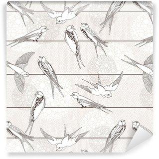 Vinyl behang, op maat gemaakt Abstracte naadloze patroon. Vogel op de draden.