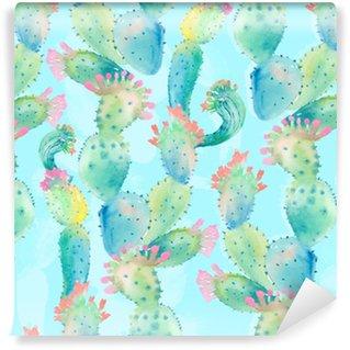 Vinyl behang, op maat gemaakt Aquarel cactus naadloze patroon