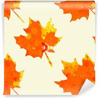 Vinyl behang, op maat gemaakt Aquarel esdoorn bladeren patroon