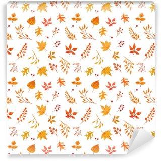 Vinyl behang, op maat gemaakt Aquarel herfst naadloze patroon
