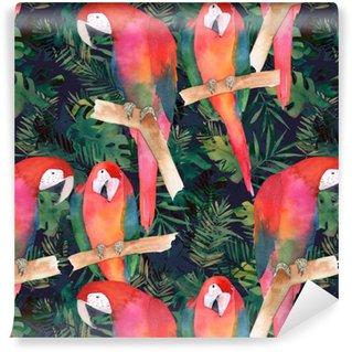 Vinyl behang, op maat gemaakt Aquarel naadloze patroon met kleurrijke papegaaien en tropische bladeren. exotische print