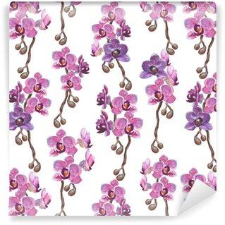 Vinyl behang, op maat gemaakt Aquarel orchidee takken naadloze patroon op witte achtergrond