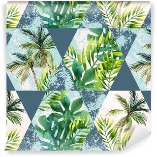 Vinyl behang, op maat gemaakt Aquarel tropische bladeren en palmbomen in geometrische vormen naadloze patroon