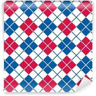 Vinyl behang, op maat gemaakt Argyle patroon in rood, wit en blauw