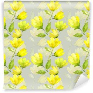 Vinyl behang, op maat gemaakt Bloemen naadloze patroon aquarel. gele lentebloem magnolia. lente achtergrond met mooie gele bloemen