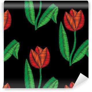 Vinyl behang, op maat gemaakt Borduursteken imitatie naadloos patroon met tulp