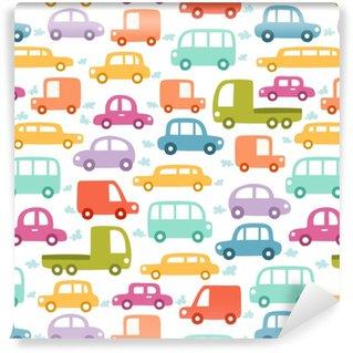 Vinyl behang, op maat gemaakt Cartoon auto's naadloze patroon