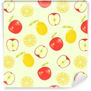 Vinyl behang, op maat gemaakt Citroen en appel, vector fruit naadloze patroon perfect voor wrap papier, behang, achtergrond, winkel materiaal, restauran materiaal