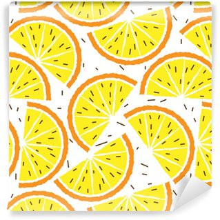 Vinyl behang, op maat gemaakt Citroen en oranje naadloze patroon. tropisch fruitpatroon