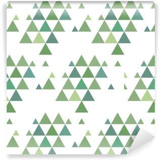Vinyl behang, op maat gemaakt Dennenbos eenvoudige naadloze patroon achtergrond. vector illustratie van gekleurde kerstbomen.