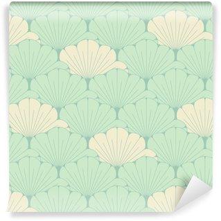 Vinyl behang, op maat gemaakt Een Japanse stijl naadloze tegel met exotisch gebladertepatroon in zacht blauw