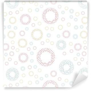 Vinyl behang, op maat gemaakt Eenvoudig naadloos textielpatroon met kleur ronde elementen. vector achtergrond illusrtration.